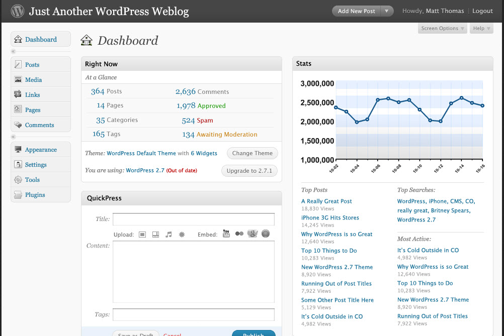 WordPress 2.7 Dashboard