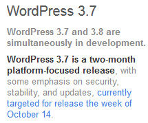 WordPress 3.7 Development Schedule