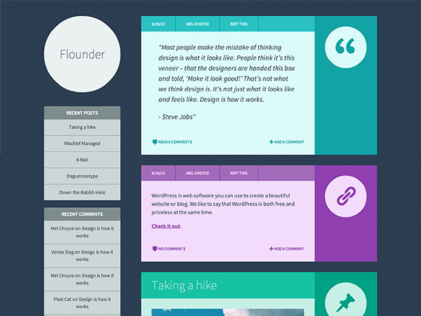 Flounder: A Free WordPress Theme with Colorful Post Formats