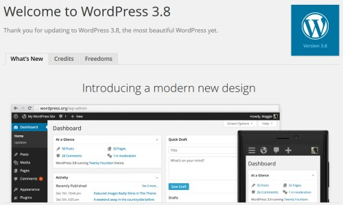 WordPress 3.8 About Page
