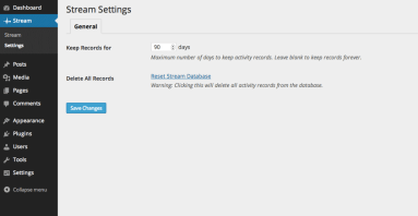 stream settings page