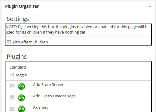 Plugin Organizer Per Post Settings