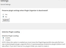 Plugin Organizer Settings Page