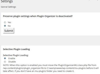 Plugin Organizer Settings Page