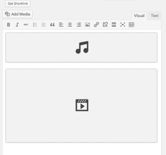 Audio/Video placeholders in the visual editor