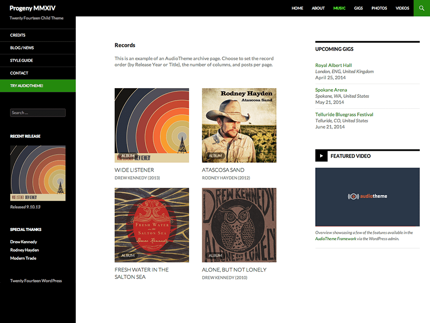 Progeny MMXIV: A Free WordPress Audio Theme Based on Twenty Fourteen ...