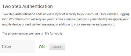 Two-Factor Authentication Enabled