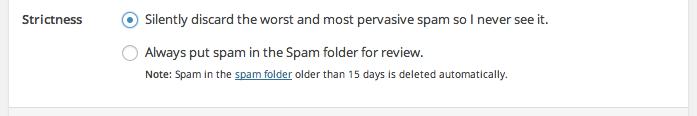 akismet discard spam feature