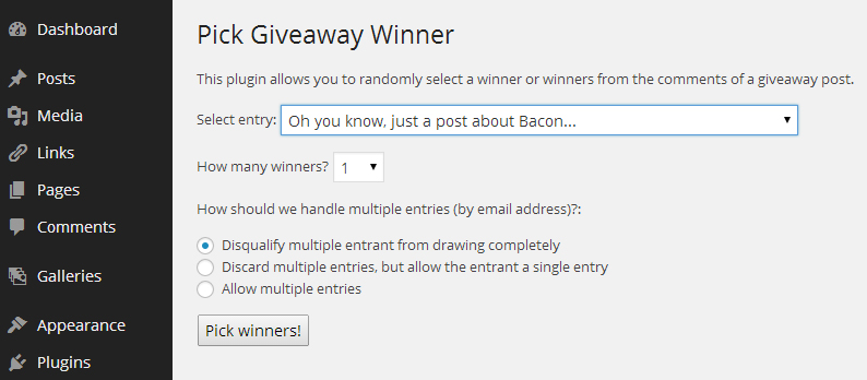 How to pick a winner for a giveaway