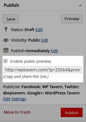 New Public Preview Option