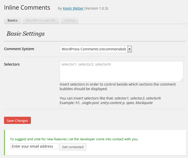Inline Comments Settings Page