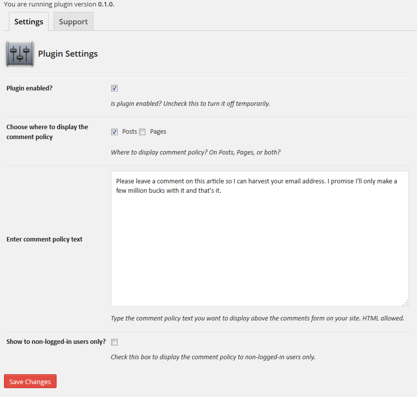 Show Comment Policy Settings