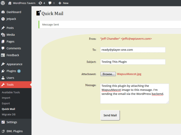 The Quick Mail Email Form