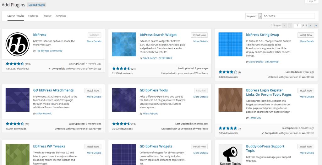 bbPress Plugins in The WordPress Plugin Directory