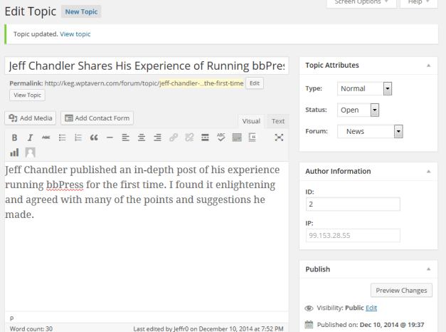 bbPress Topic Created From The Backend of WordPress