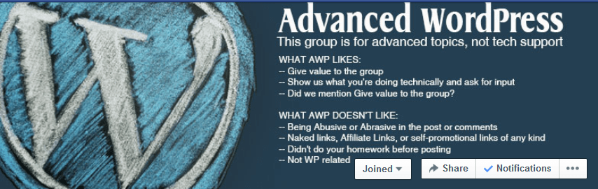 Advanced WordPress Facebook Group Header