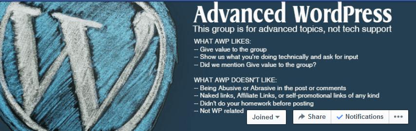 Advanced WordPress Facebook Group Header