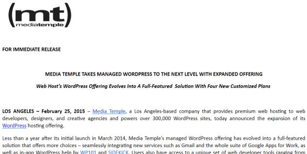 MediaTemple SIDEKICK press release