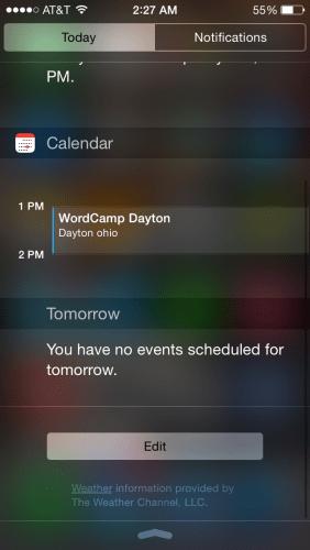 Notification Center Edit Button