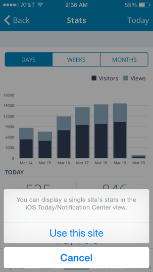 Selecting Use This Site will add its stats to the Notification center