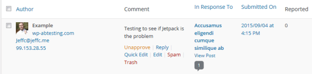 Reported Comments Column