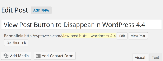 WordPress 4.3 Post Editor