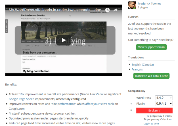 W3 Total Cache Not Compatible With WordPress 4.4.2