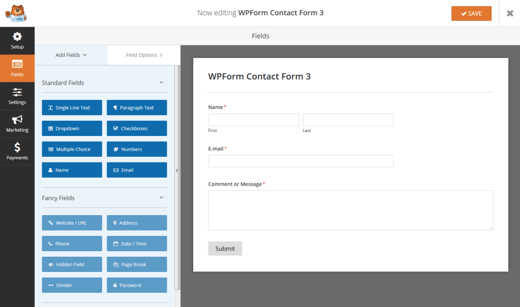 WPForm Simple Contact Form Template