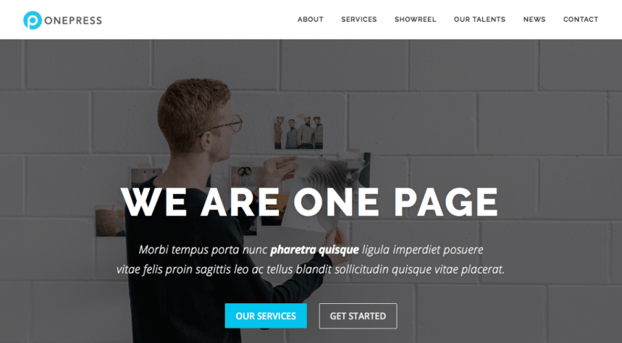 OnePress: A Free Single-Page WordPress Theme Built with Bootstrap 4