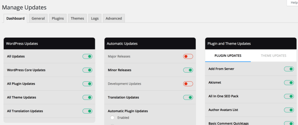 Easy Update Manager Dashboard