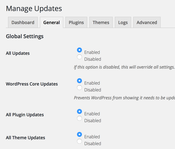 Easy Update Manager General Settings