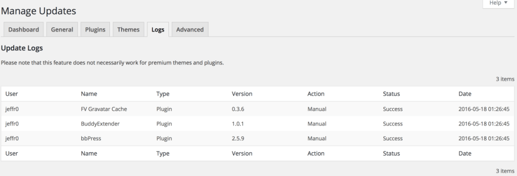 Easy Update Management Log