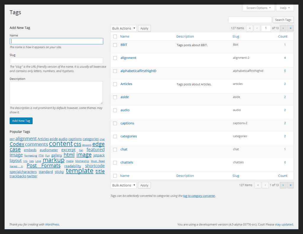 WordPress 4.6 Tag Management Screen