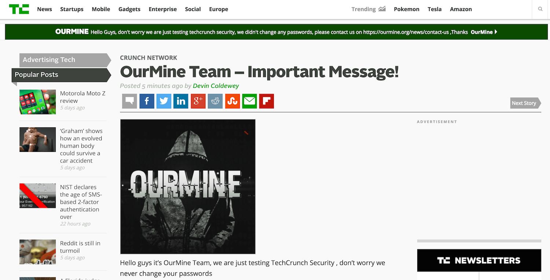 TechCrunch Hacked by OurMine, Attackers Target Weak Passwords