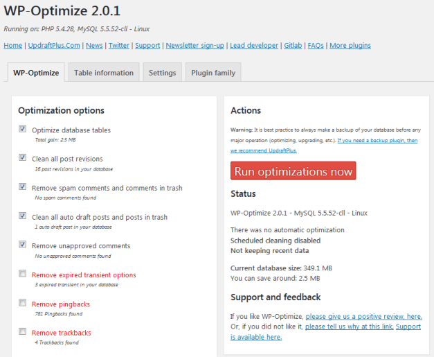 WP Optimize Settings Page