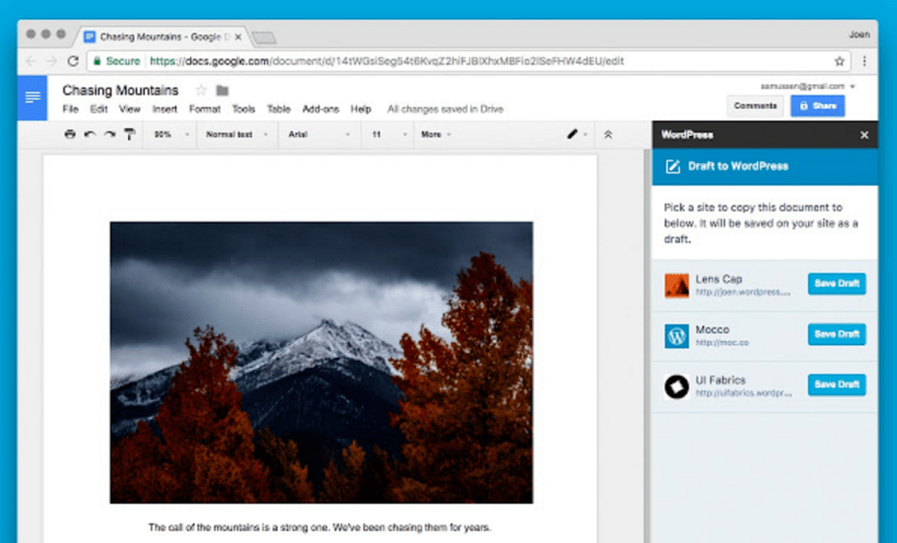 WordPress.com Releases Chrome Add-On for Google Docs