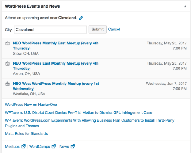 News Widget Shows Upcoming Meetups and WordCamps