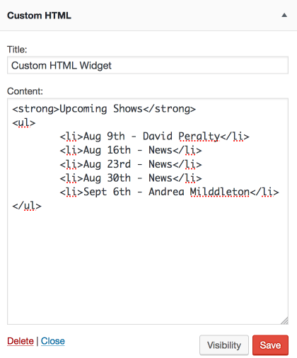 Custom HTML Widget in WordPress 4.8.1