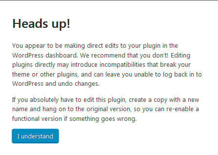 Plugin Editor Warning