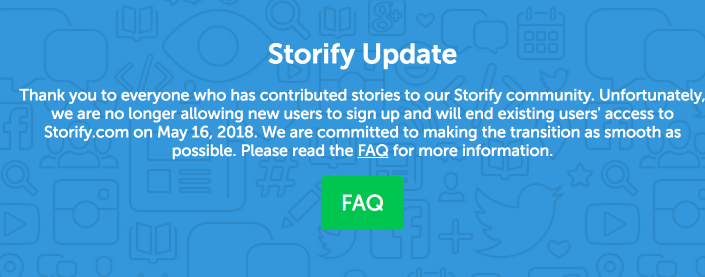 Storify Shutting Down Announcement
