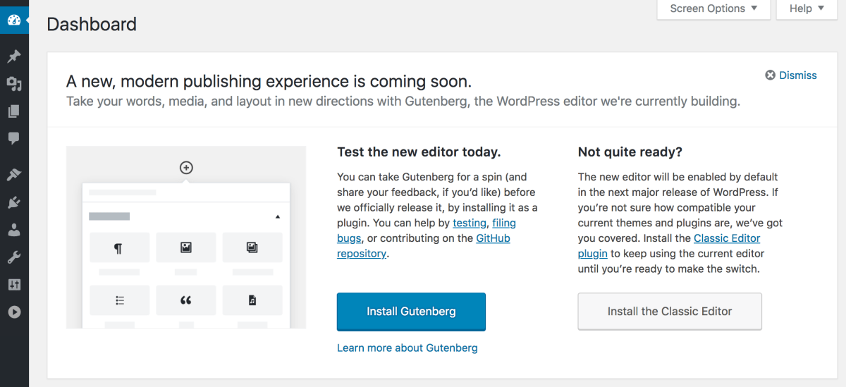 "First Look at ""Try Gutenberg"" Prompt in WordPress 4.9.8 Beta 2"