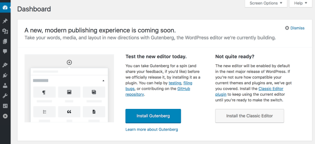 """Screen-Shot-2018-07-19-at-4.02.56-PM First Look at """"Try Gutenberg"""" Prompt in WordPress 4.9.8 Beta 2 design tips"""
