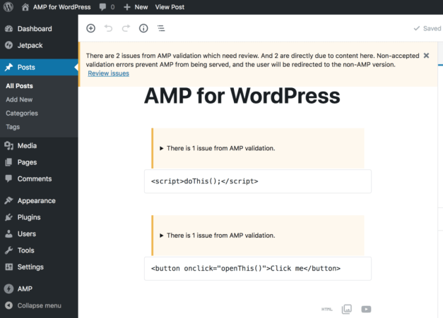 notices-in-blocks-1024x736 AMP Plugin for WordPress Version 1.0 Introduces Gutenberg-Integrated AMP Validation design tips