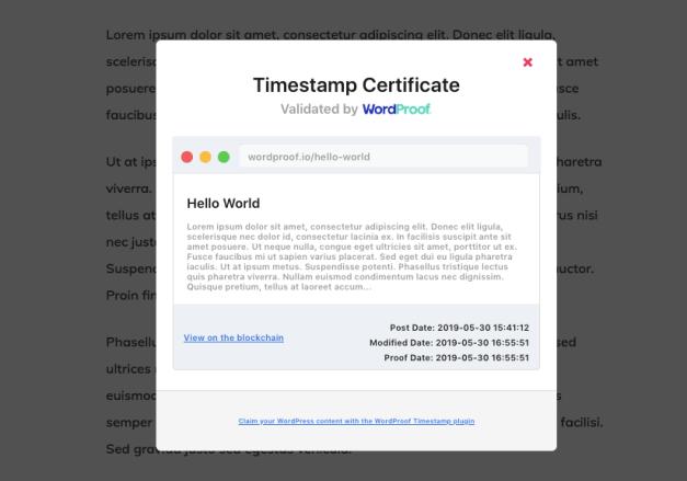 timestamp-certificate New WordProof Plugin Timestamps WordPress Content on the Blockchain design tips  News Plugins blockchain WordProof