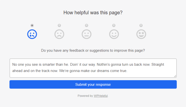 Screenshot of the WPHelpful plugin's feedback form on the front end of the site.
