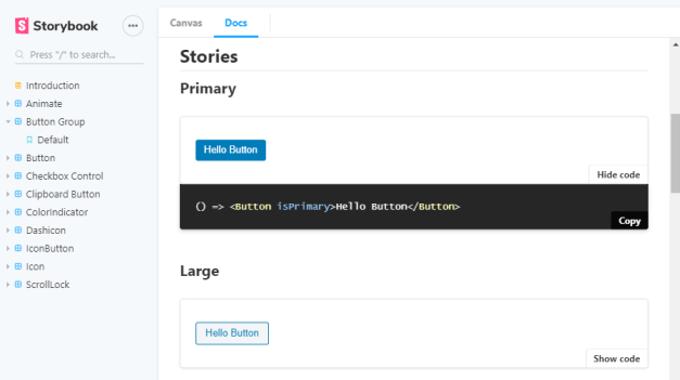 Gutenberg components Storybook screenshot.