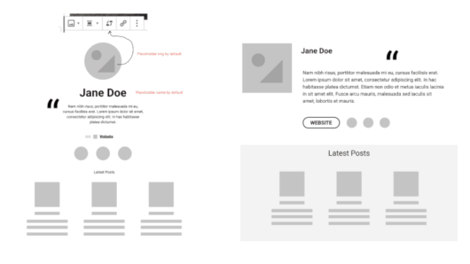 Mockups of two author bio blocks. One with centered elements. The other with a left image and right bio.