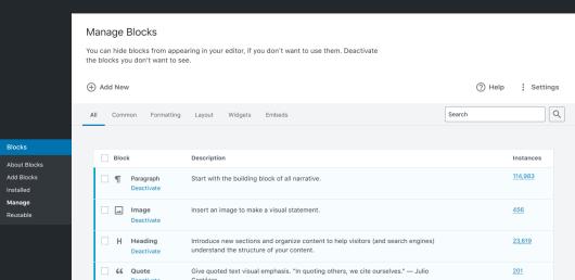 Screenshot of the Manage Blocks screen prototype for WordPress.