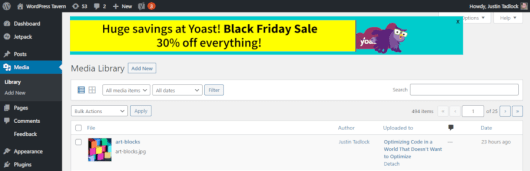Screenshot of the Yoast SEO plugin Black Friday ad in the WordPress admin.