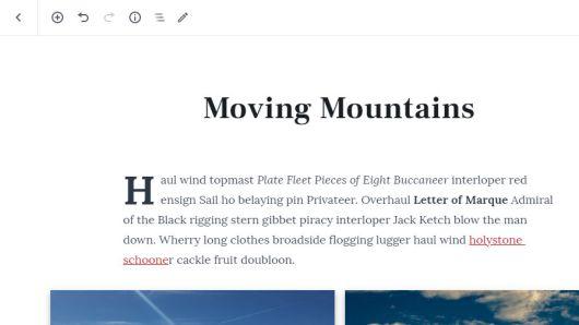 Closer screenshot of the fullscreen post editor and its toolbar.